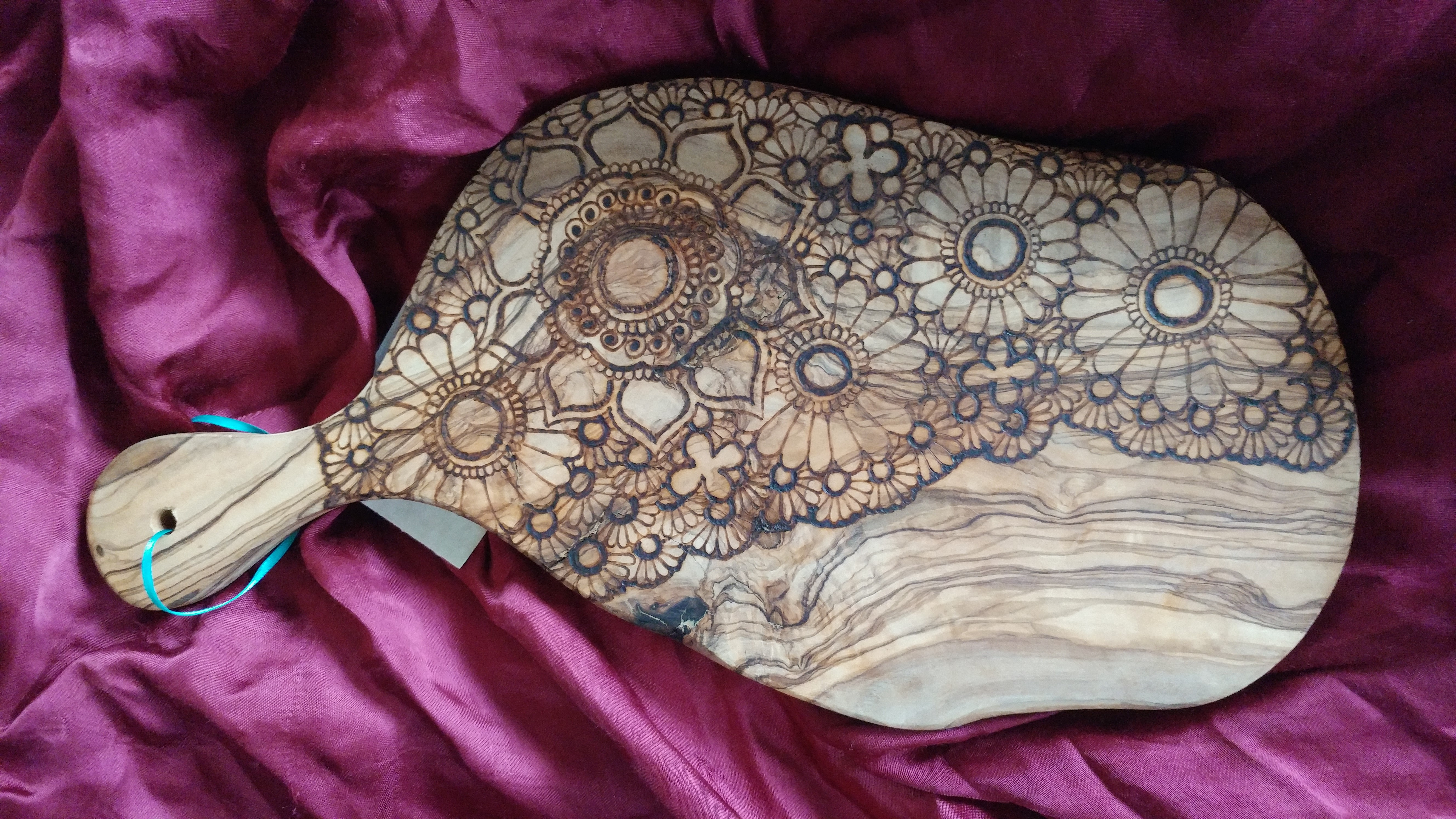 Wood Burned Henna Inspired Designs On Food Grade Bowls And Boards